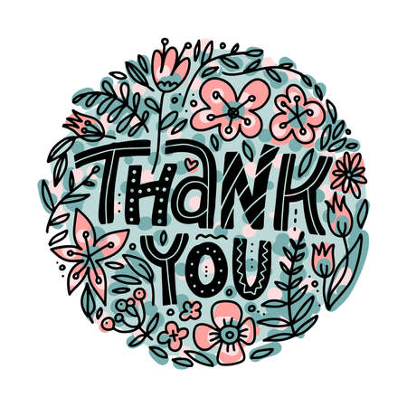Thank you greeting card with hand lettering and cute floral circle on white background. Flat vector doodle illustration.