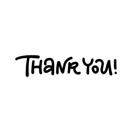 Thank you hand drawn modern lettering words on a white background. isolated vector illustration