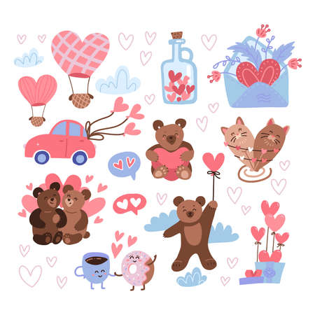 Saint Valentine Day sticker set. Feast of St Valentines labels, happy 14 february icons with cute teddies, jar of hearts, air balloons, love letter. Flat vector illustration. Ilustrace