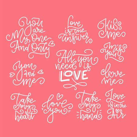 Set of decorative design elements representing Valentine s day related quotes and words. Hand written linear texts on red background for banners abd cards. Ilustrace