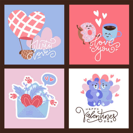 Valentine s greering card set in flat vector design style. Square hand drawn lovely scenes banners.