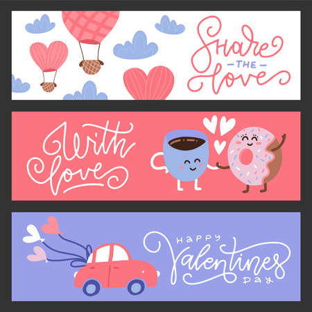 Set of flat design Valentines day greeting cards and banners. Cute characters, car and balloon. Flat vector illustration.