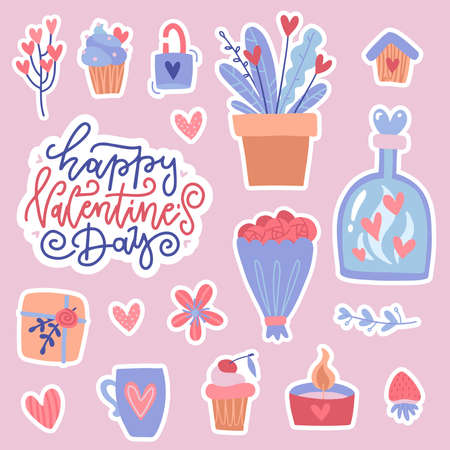Set of color doodle stickers or patches for Valentine s day isolated on pink background. Many cute usilated elements - bouquet, bottle with hearts, mug and sweets. Flat vector illustration.