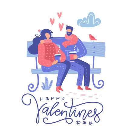 Cute romantic couple sitting on a bench in the park and dringing coffee, spring lovely scene. Valentine s day greeting card. Flat vector illustration. Ilustrace