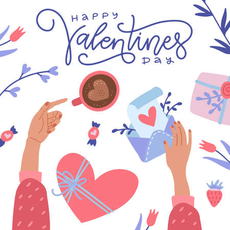 Happy Valentine s Day greeting card. Twofemale hands holding coffee and love letter envelope. Top view of desk. Flat cartoon colorful vector illustration for Invitation, greetings, posters, banner. Ilustrace