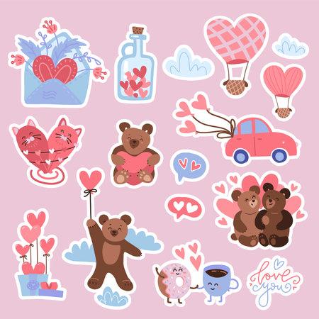 Valentine s day set of vector stickers - bear, hearts, bird, balloons . Flat vector hand drawn illustration.