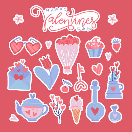 Happy Valentine day colorful isolated stickers set. Flat vector illustration isolated red background. Letterong text with many romantic elements - flower, glass, candy, love letter. Ilustrace