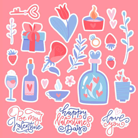 Set of flat doodles for Valentine s Day. Vector hand drawn illustration. Valentines stickers collection. Cozy illustration of romantic stuff - glass bottles, cup, flower, gift, lettering quotes. Ilustrace