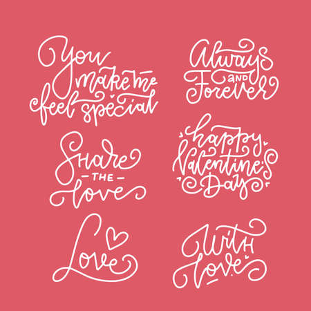 Happy Valentine s Day lettering. Set Of Calligraphic Quotes. Valentin Hand drawn Text Isolated On red Background. For Greeting Cards, Print Design. Vector linear Illustration Ilustrace