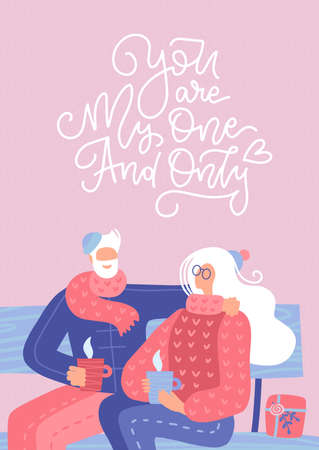 Senior couple in love. Elderly people sitting on bench together and drinking coffee or tea. Vector flat illustration with lettering quote - You are my one and only.