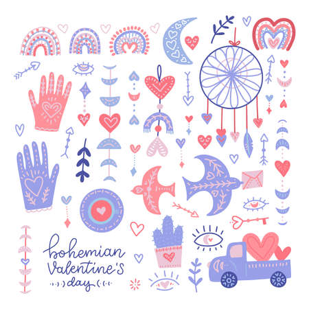 Set of bohemian Valentine s day hand drawn elements - birds , boho rainbow, heart, eye with heart, moon clipart isolated on white background. Flat vector illustration. Ilustrace