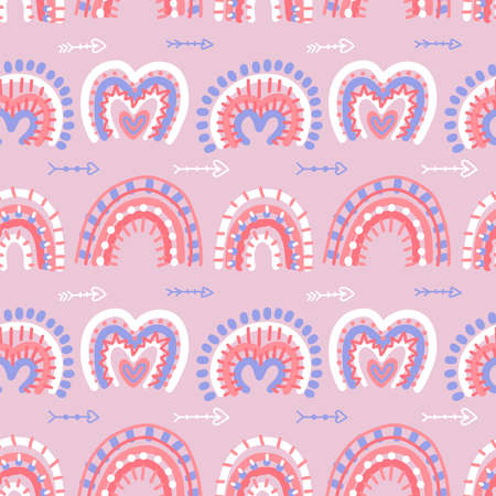 Abstract modern boho rainbows seamless pattern with Valentines love hrat shapes. Hand drawn vector bohemian illustration. Nursery decor. Cute baby pattern. Pink and blue colors