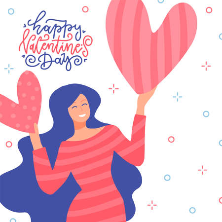 Happy woman holding a two red big hearts above her head isolated on white background. Flat vector illustration with greeting lettering quote. Happy Valentine s day.