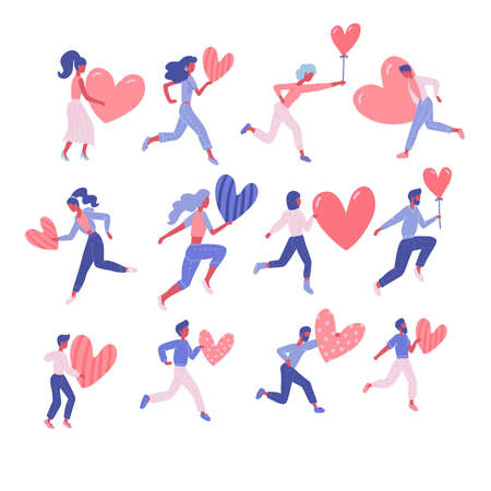 Set of happy woman and man holding hearts. Valentine s day concept of volunteering or romantic relationship. People hold a like sign. Flat vector cartoon illustration. Poses for donations.