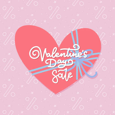 Valentine s day sale banner design template with big heart with bow and hand lettering calligraphy text. Vector logo and Illustration for sale tag or label. Flat vector banner. EPS 10