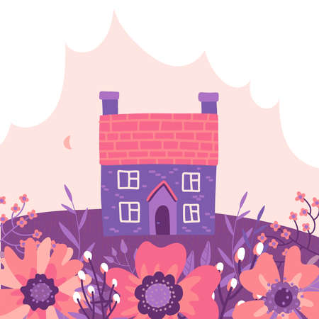 Two story building with garden and cloud background. Isolated countryside spring house scenery. Flat style vector illustration. Stock fotó - 163235015