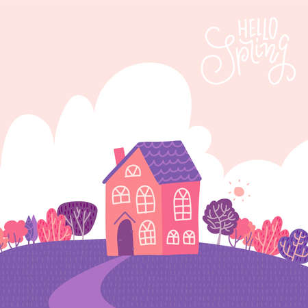 Single family two storey house with Georgian windows standing on hill covered with grass. Country building with trees. Pink sky background with clouds. hetto Spring concept