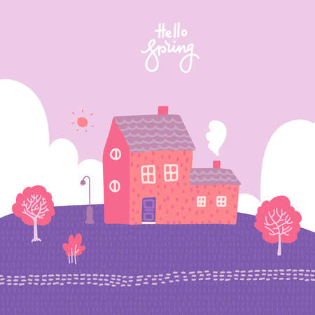 Spring landscape with cozy house, fields and nature. Romantic blooming background. Cute vector illustration in flat style with lettering quote - hello spring.