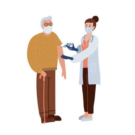Vaccination concept. Old man in face mask having a vaccine injection. Idea of vaccine injection for protection from disease. Medical treatment and healthcare. Vector flat illustration.