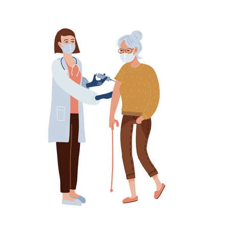 Vaccination concept. Old woman having a vaccine injection. Female nurse or doctor gives a shot in the shoulder. Medical treatment and healthcare. Vector flat illustration. Illusztráció