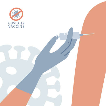 Banner of process of injecting the COVID-19 vaccine with a syringe into the shoulder. Doctor hand in blue rubber gloves makes an injection against an infectious disease. Flat vector illustration