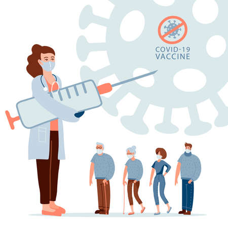 People of different ages in queue waiting for vaccination. Female doctor holding big syringe, injector. Seasonal vaccine, prevention immunize from covid-19. Vector flat character banner