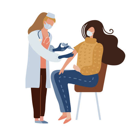 Doctor making shot to woman with   vaccine. female therapist vaccinating a sitting patient. Flat vector illustration design