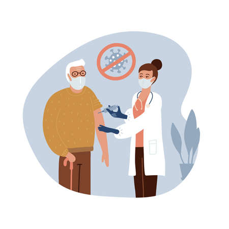 Senior old man at the doctor in the hospital is vaccinated. Time for vaccination. Vector flat hand drawn illustration