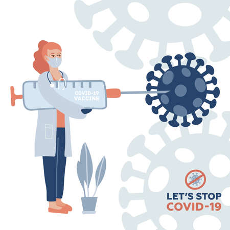 Doctor carrying big syringe with vaccine against coronavirus. Lets stop COVID-19 text. A shot into a huge virus. Defend from corona. Vector flat illustration Illusztráció