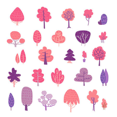 Spring trees elements set. Pink and violet flat illustration of cute floral blooming forest.
