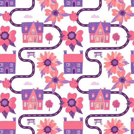 Illustration of spring city map with cute small housea and big flowers. Cartoon pink Seamless pattern with road and buildings. Ilustração