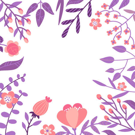 Vector flat flowers, leaves and berries color frame background. Creative bright design for greeting cards, posters and banner design. Ilustração