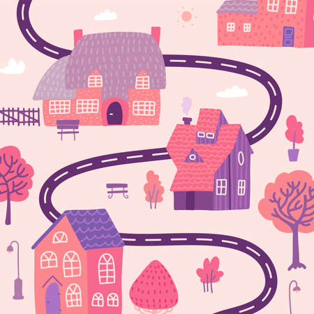Cute cityscape background, beautiful cozy houses with trees and road in cartoon style. isolated vector flat illustration. Ilustração