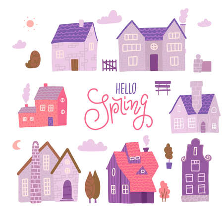 Europe street traditional houses set with plants, clouds, other elements if out of town landscape. Countryside Constructor in pink color. Vector flat illustration. Illusztráció