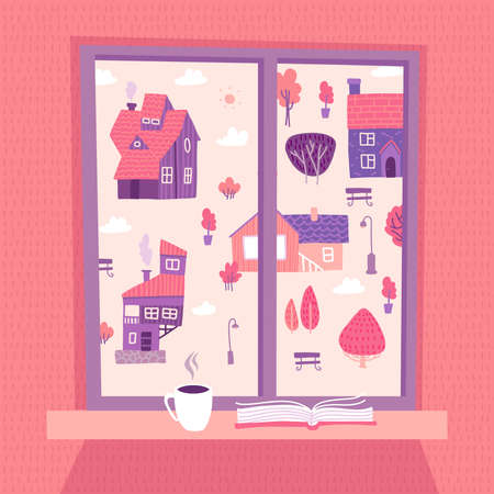 Spring window with view on lovely landscape with houses and trees. Open book and cup of coffee on the sill. Cute cozy vector illustration in flat hand drawn style.