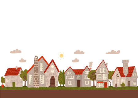 Cozy day small town street. Cartoon grey city buildings flat vector illustration. Empty space for text.