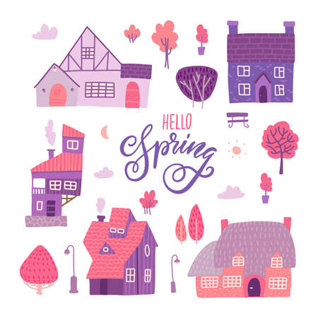 Houses for spring town constructor set. Elements for city illustration. Buildings. trees, bench icons. Town infographic elements. Vector flat illustration. Hello Spring lettering text. Ilustração