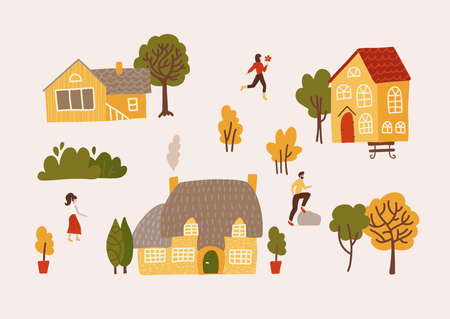 Hand drawn village with houses, trees and residents vector flat illustration. Yellow cozy buildings with people. Residential homestead, cottage or villa surrounded by green plants. Ilustração