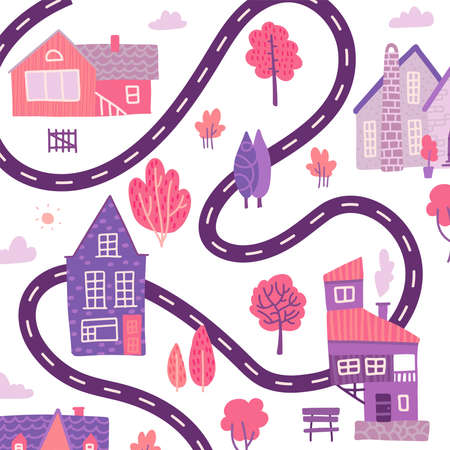 Hand drawn textured spring background with little houses, roads and trees. Village map view. Vector flat illustration. Ilustração