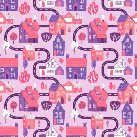 Cute seamless pattern with road, houses and trees on pink background. Spring town map. Flat vector illustration.