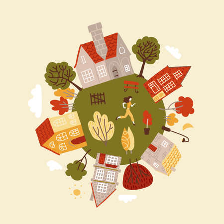 Cote round planet with a green trees, cozy small houses, and character. Home of happiness and calmness. Flat vector illustration. Ilustração