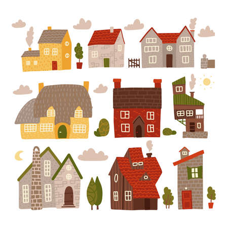 Colorful small houses collection with nature elements. Home sweet home set. Flat hand drawn vector illustration