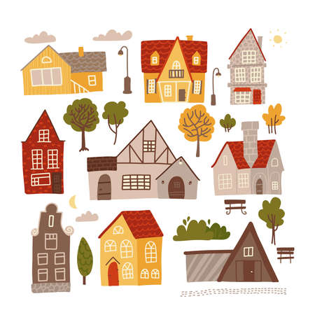 Set of bright colorful facades of small cozy houses for concept design. Hand drawn flat vector illustration isolated on white background. Elelements for village, cityscape constructor.