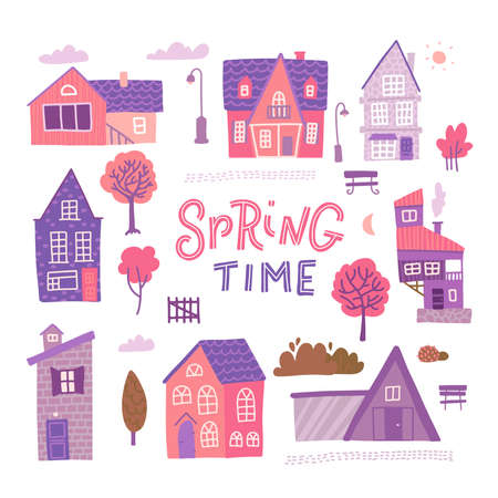Set of detailed colorful houses for spring design. Trendy style cute buildings. Vector flat illustration with lettering - Spring time. Ilustração
