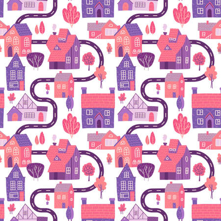 Seamless pattern with spring village with road, houses and trees. Landscape map. Vector flat hand drawn design.