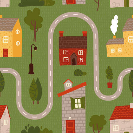 Seamless pattern - Cartoon road with house, tree for kids. Maze cartoon poster. You can use it to print on the carpet for the decor of the childrens room. Flat vector illustration.