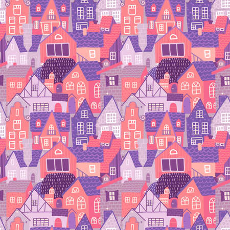 City seamless colorful pattern with hand drawn old european houses at spring. Pink Repeating background with the old town. For wallpapers,textile and scrapbooking. Vector flat illustration.