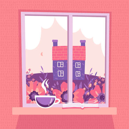 Closed window with a spring landscape view. Pink sky with clouds, meadow, old counry house. A cup of coffee and an open book lie on the windowsill. Vector flat illustration flat.