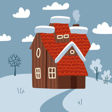 Winter meadow landscape scenic with small house with chimney smoke. Snow terrain with trees and clouds.. Flat style vector illustration. Ilustração