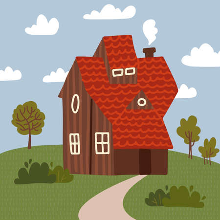 Wooden House with trees and bushes. Summer landscape with clouds . Flat Vector Illustration EPS10